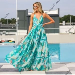 NWT Turquoise Tropical Chiffon Formal Maxi Dress